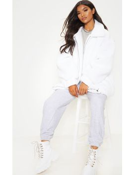 White Oversized Borg Pocket Front Coat  by Prettylittlething