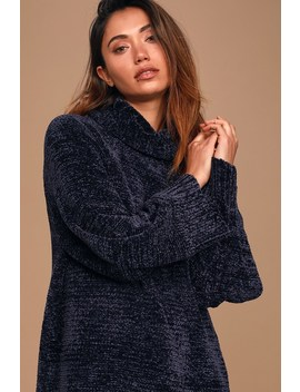 Chenille Feels Navy Blue Knit Turtleneck Sweater Dress by Lulus X Lush