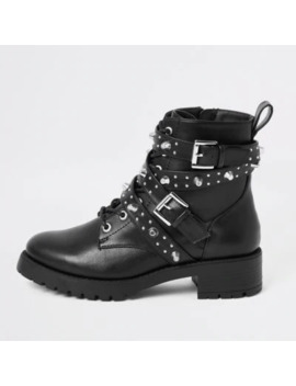 Black Studded Buckle Lace Up Boots by River Island