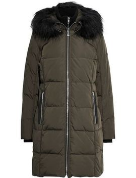 Faux Fur Trimmed Quilted Shell Down Hooded Coat by Donna Karan