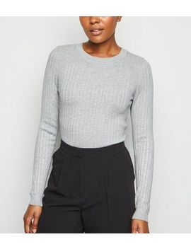 Pale Grey Ribbed Crew Neck Jumper by New Look