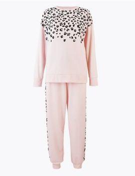 Animal Print Sweatshirt Pyjama Set by Marks & Spencer