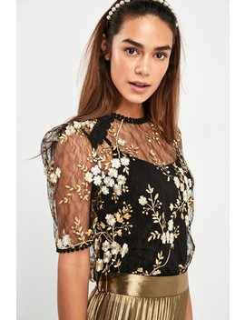 Black/Gold Embroidered Floral Top by Next
