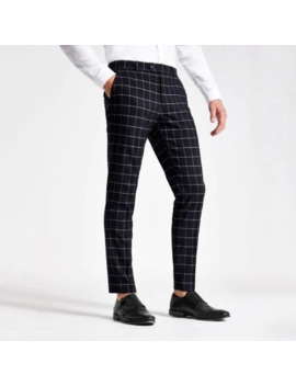 Navy Check Skinny Suit Trousers by River Island