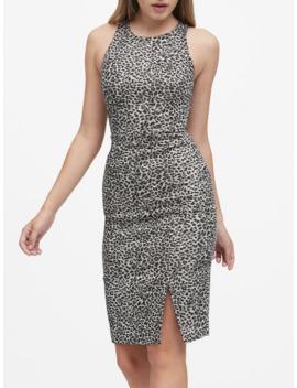 Metallic Leopard Bi Stretch Sheath Dress by Banana Repbulic