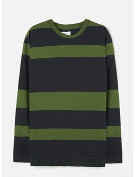 Universal Works Long Sleeve Tee In Green Rugby Stripe by Universal Works