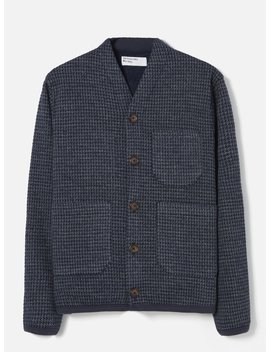 Universal Works Cardigan In Navy Houndstooth Jersey by Universal Works