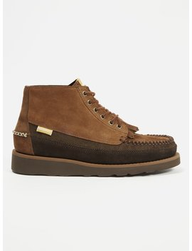 Universal Works X Sebago 'campsides' Cayuga Mid In Pluri Brown Suede by Universal Works