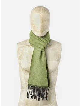 Universal Works Scarf In Green/Olive Double Sided by Universal Works
