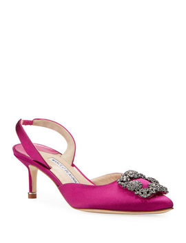 Hangisi Kitten Heel Satin Slingback Pumps by Manolo Blahnik
