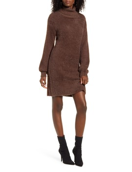 Caley Eyelash Chenille Turtleneck Sweater Dress by 4 Si3 Nna
