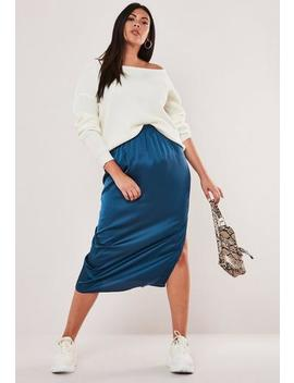 Plus Size Teal Satin Slip Skirt by Missguided