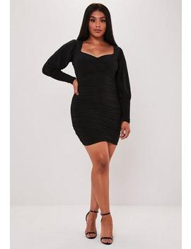 Plus Size Black Ruched Puff Sleeve Mini Dress by Missguided