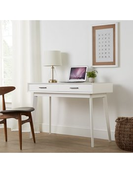Mainstays Reeve Mid Century 2 Drawer Writing Desk, White Finish by Mainstays