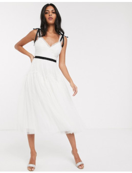 Needle & Thread Bridal Bow Detail Midi Dress With Contrast Waistband In Ivory by Needle & Thread