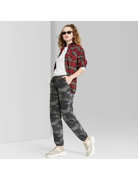 Women's Camo Print High Rise Vintage Jogger Sweatpants   Wild Fable™ Gray by Wild Fable