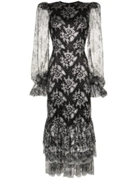 Night Bird Lace Embroidered Midi Dress by The Vampire's Wife