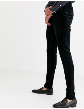 Asos Design Tall   Pantalon Habillé Ultra Slim En Velours Plissé   Noir by Asos Design