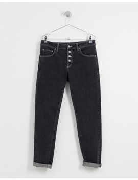 Asos Design Slim Jeans With Exposed Button Fly In Retro Black by Asos Design