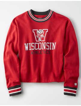 Tailgate Women's Wisconsin Badgers Tipped Fleece Sweatshirt by American Eagle Outfitters