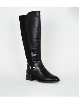 Wide Fit Black Leather Look Knee High Boots by New Look