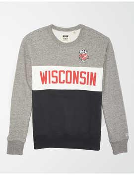 Tailgate Men's Wisconsin Badgers Colorblock Fleece Sweatshirt by American Eagle Outfitters