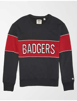 Tailgate Men's Wisconsin Colorblock Fleece Sweatshirt by American Eagle Outfitters
