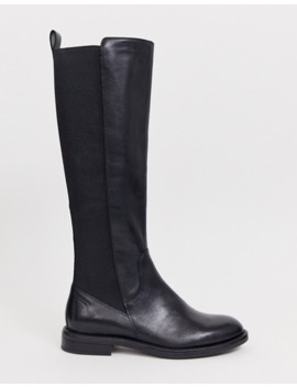 Vagabond Amina Black Leather Knee High Flat Boots by Vagabond