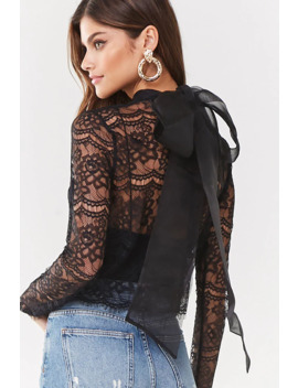 Sheer Floral Lace Pussycat Bow Top by Forever 21