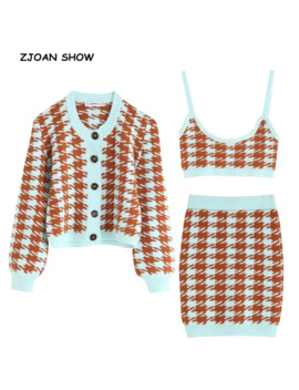 1 Set 2019 Autumn Korea Style Check Gingham Plaid Cardigan Retro Single Breasted Button Tank Top Knitted Sweater Vintage Jumper by Ali Express.Com
