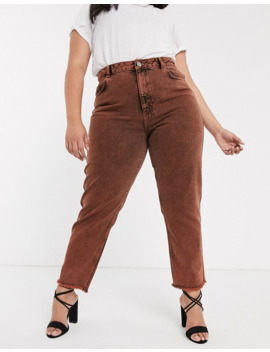 Asos Design Curve Ritson Original Mom Jeans In Orange Acid Wash by Asos Design