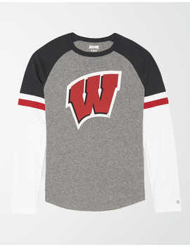 Tailgate Men's Wisconsin Badgers Baseball Shirt by American Eagle Outfitters