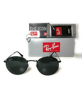 Ray Ban Round Metal Black Sunglasses Rb3447 002/62 50mm Brand New by Ray Ban