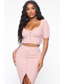 Hey Babe Ribbed Skirt Set   Mauve by Fashion Nova