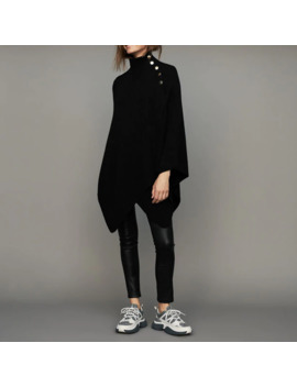 New Women's Black Sweater Spring Autumn Fashion Office Ladies Shoulder Button Cloak Coat Pullover Women High Neck Warm Clothing by Ali Express.Com