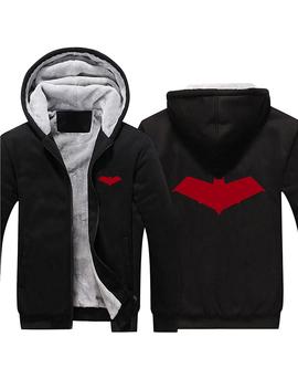 2017 Batman Red Hood Jason Todd Robin Superhero Hoodies Zip Up Polyester Hooded Winter Super Warm Fleece Sweatshirts Coats by Ali Express.Com