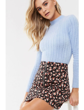 Rose Floral Zip Up Denim Skirt by Forever 21