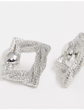 Asos Design Earrings With Texture Square Drop In Silver Tone by Asos Design
