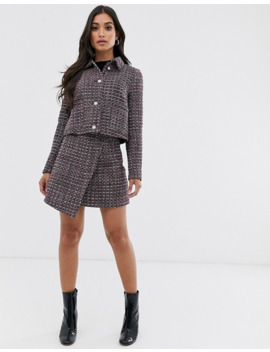 Fashion Union Petite Crop Jacket In Tweed With Pearl Buttons Two Piece by Fashion Union's