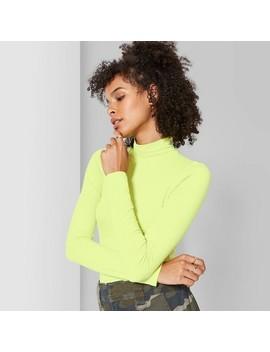 Women's Long Sleeve Mock Turtleneck Bodysuit   Wild Fable™ Neon Yellow by Wild Fable