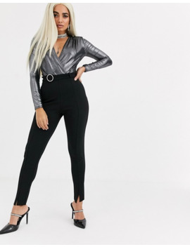 Missguided Petite Rhinestone Belt Slit Front Cigarette Pants In Black by Missguided's
