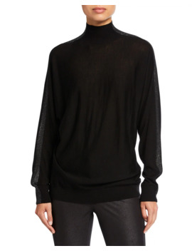 Plus Size Merino Wool Turtleneck Dolman Sweater W/ Metallic Detail by Lafayette 148 New York