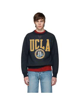 Navy 'ucla' Crewneck Sweater by Junya Watanabe