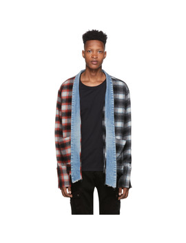 Black & Red Mixed Kimono Cardigan by Greg Lauren
