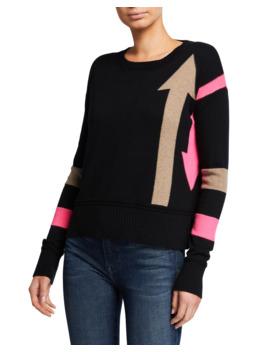 Plus Size Arrow Intarsia Crewneck Cotton Blend Sweater W/ Stripes by Lisa Todd