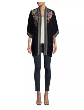 Plus Size Quito Floral Embroidered Velvet Kimono W/ Border Stitching by Johnny Was