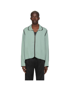 Green Zip Up Shirt by L'homme Rouge