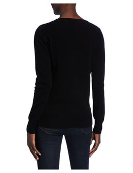 Plus Size Basic Cashmere V Neck Sweater by Neiman Marcus Cashmere Collection