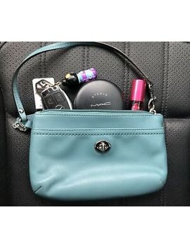 Coach Leather Wristlet Wallet Pouch Cosmetic Bag Cell Phone Turquoise Teal Blue by Coach