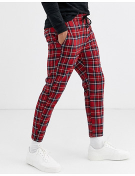 Only &Amp; Sons Cropped Drawstring Plaid Pants In Red by Only & Sons
